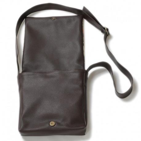کیف چرمی خورجینی فیروزه