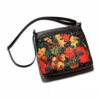 کیف چرمی خورجینی گل و مرغ