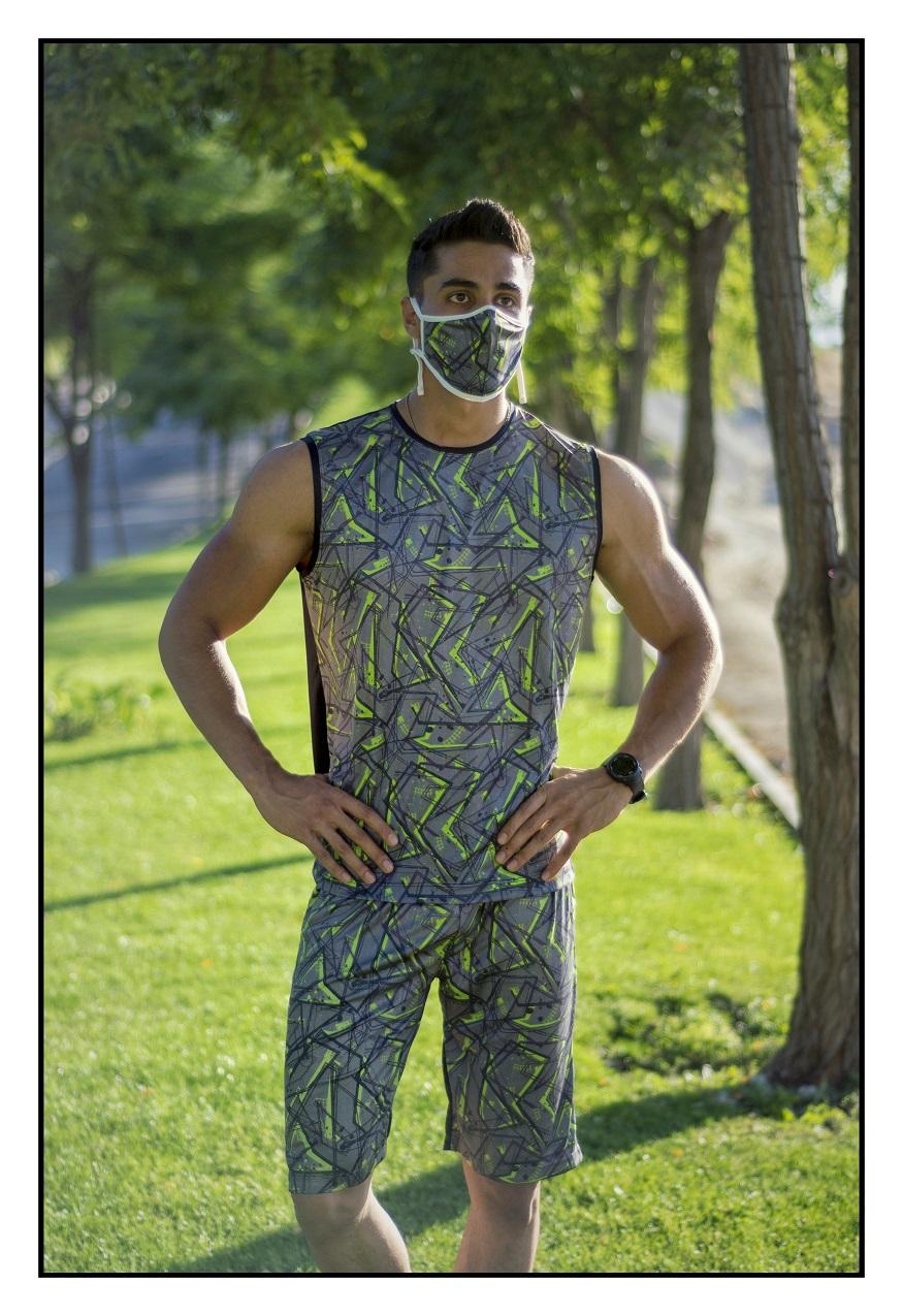تاپ، شلوارک و ماسک مردانه طرح مدیترانه سبز