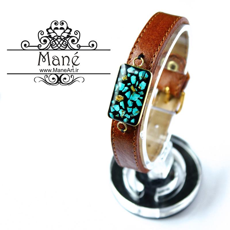 دستبند چرم زنانه طرح فیروزه مستطیل