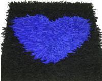 گلیم فرش آبی مشکی- سفارشی قلب