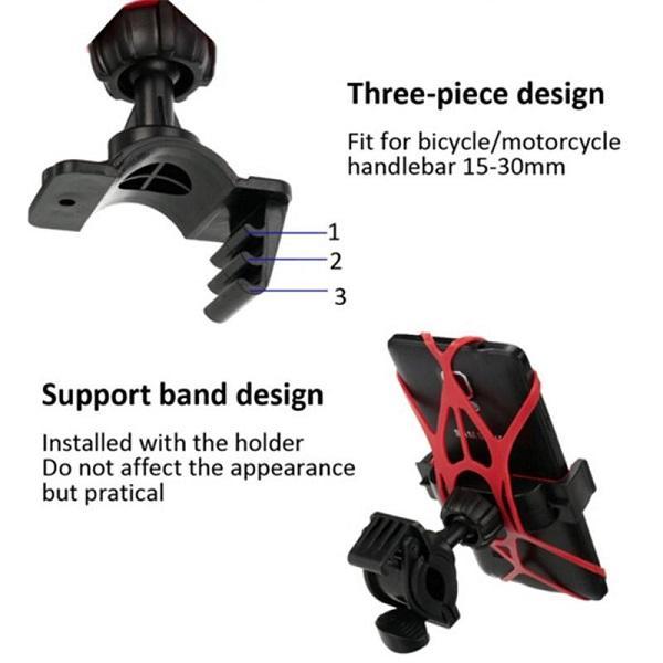 هولدر سیلیکونی ژله ای فرمان موتورسیکلت و دوچرخه (استند آنتی شوک)