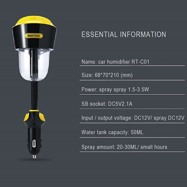 دستگاه بخور سرد و شارژر فندکی اتومبیل ریمکس REMAX RT-C01