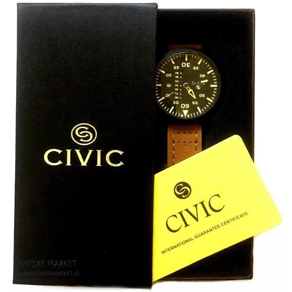 ساعت مچی چرم مردانه سیویک 9074 CIVIC (ساخت ژاپن)