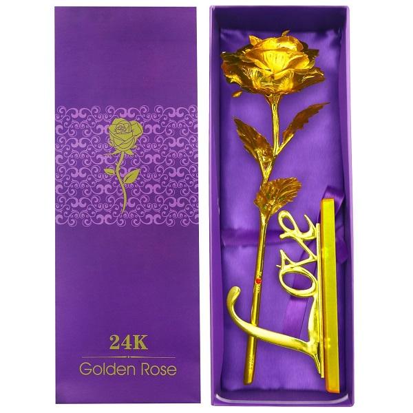 گل رز گلد کادویی پایه دکوری Golden Rose 24K