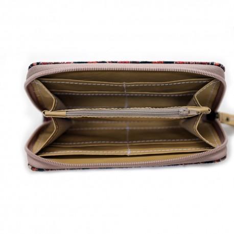 کیف دوشی چرم به همراه کیف پول طرح قشقایی