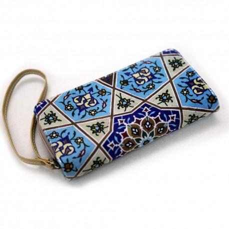 کیف خورجینی به همراه کیف پول ست طرح شمسه
