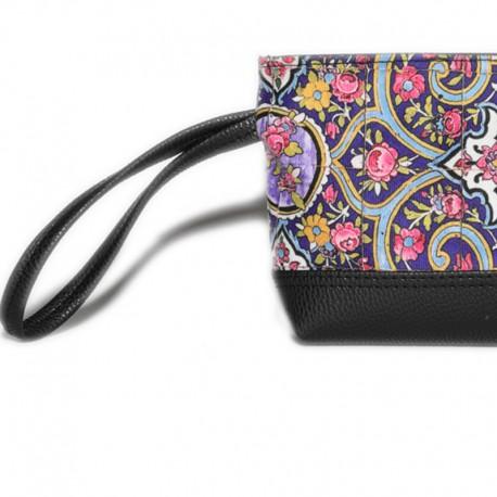 کیف  کلاچ چرم به همراه کیف لوازم آرایش طرح ارغوان