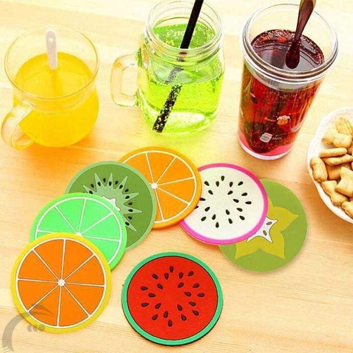 زیر لیوان طرح میوه شش عددى