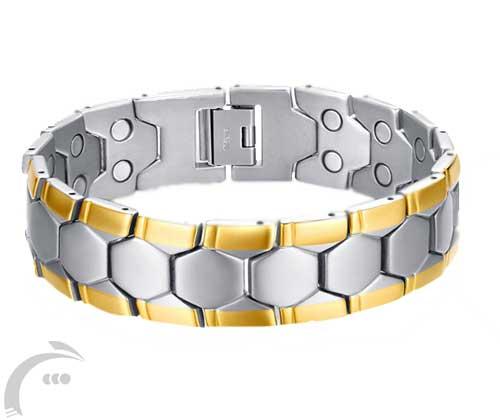 دستبند مغناطیسی استیل دور طلایی بزرگ
