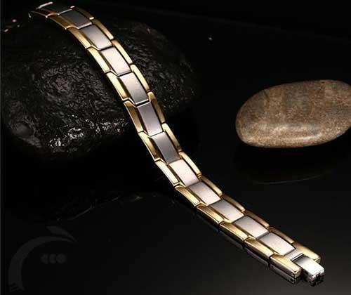 دستبند مغناطیسی استیل دورطلایی کوچک