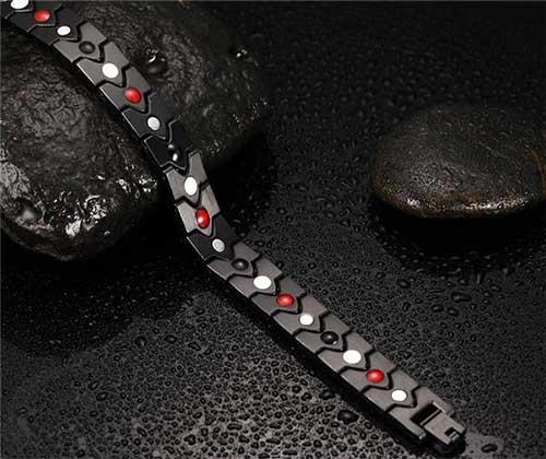 دستبند مغناطیسی استیل مشکی براق قلبی