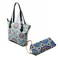 کیف دوشی شمسه به همراه کیف پول