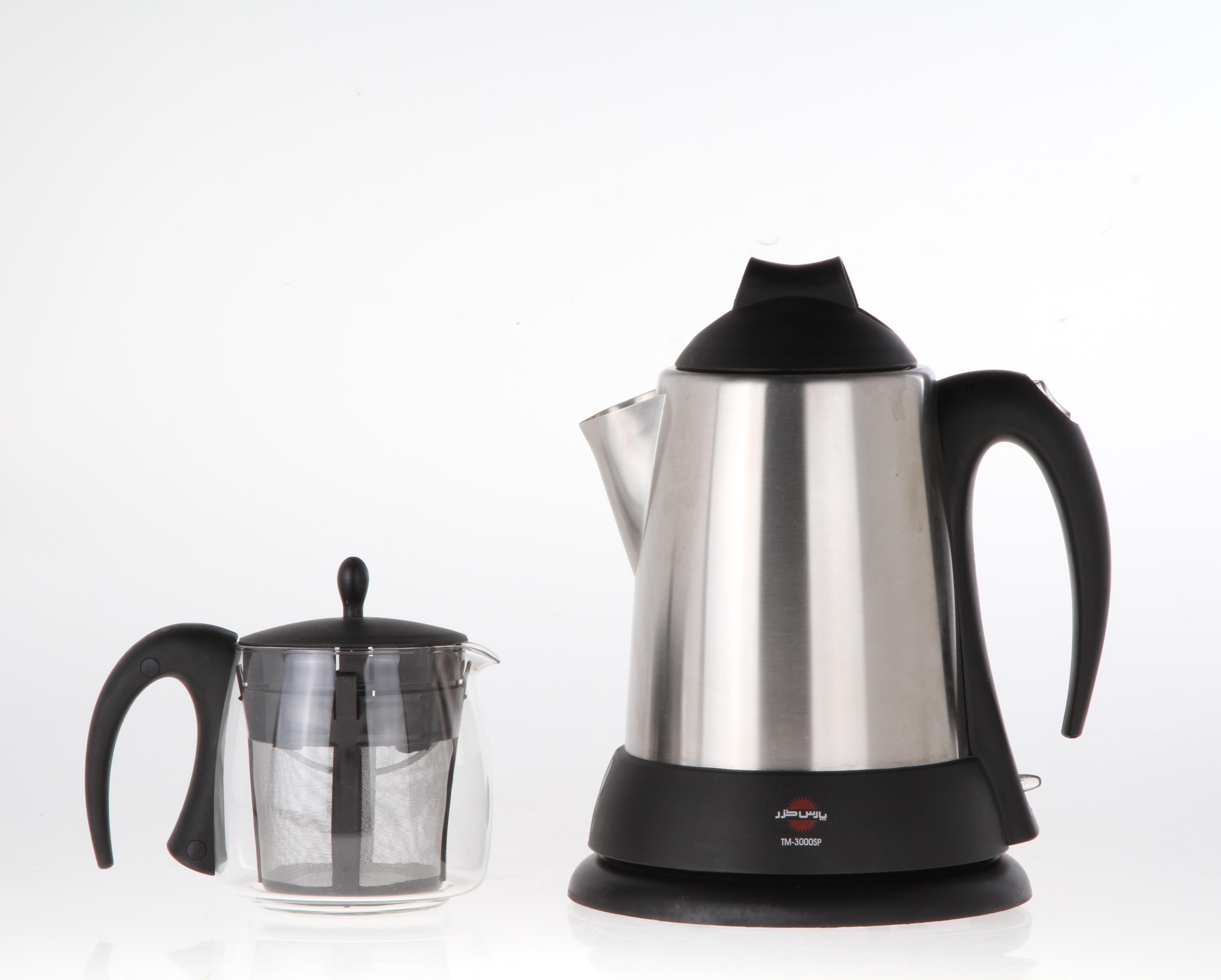 قوری شیشه ای تسمه دار به رنگ مشکی چایساز پارس خزر  مدل   TM-3000SP