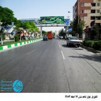تابلو پل عابر پیاده در بلوار شاهد مشهد (نمای میدان امام حسن(ع))