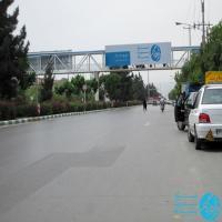 تابلو پل عابر پیاده واقع در بلوار خیام مشهد (نمای میدان سپاد)