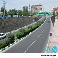 تابلو پل عابر پیاده در بلوار مصلی مشهد (نمای حرم مطهر)