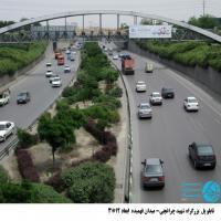 تابلو پل عابر پیاده واقع در بزرگراه شهید چراغچی مشهد (نمای میدان قائم )