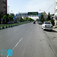 تابلو پل عابر پیاده در بلوار شاهد مشهد (نمای چهارراه ورزش)