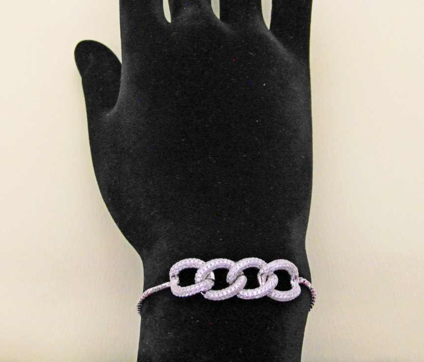 دستبند نقره 4 حلقه کریستاله