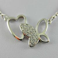 گردنبند کریستاله قلب و پروانه