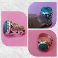 انگشتر فیروزه با رکاب زیبای یا علی ع