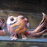 مجسمه ماهی طرح چوب