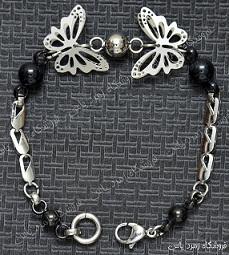 دستبند تمام استیل طرح عشق پروانه ای تمام برجسته