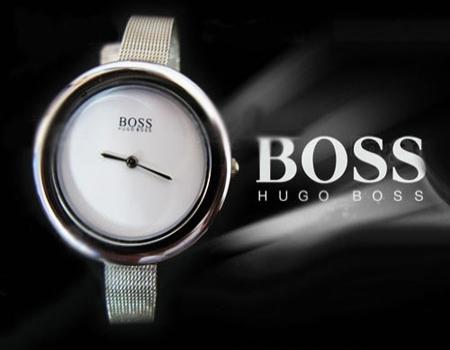 ساعت بوس Boss بند حصیری نازک نقره ای
