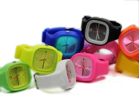 خرید ساعت ژله ای رنگ صورتی