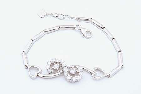 دستبند نقره جواهري سفيد